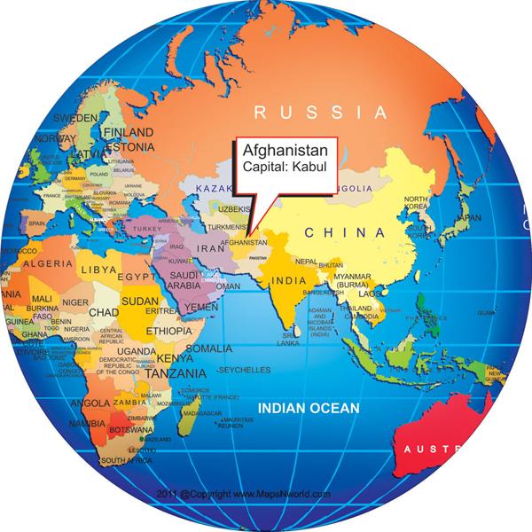 Where is Afghanistan? world globe