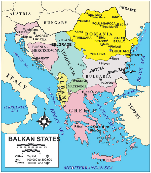 Balkan states map, Balkan Countries