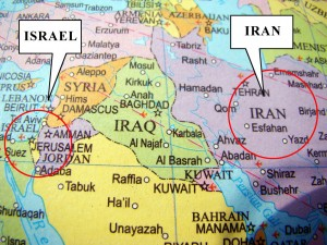 Location of Iran and Israel