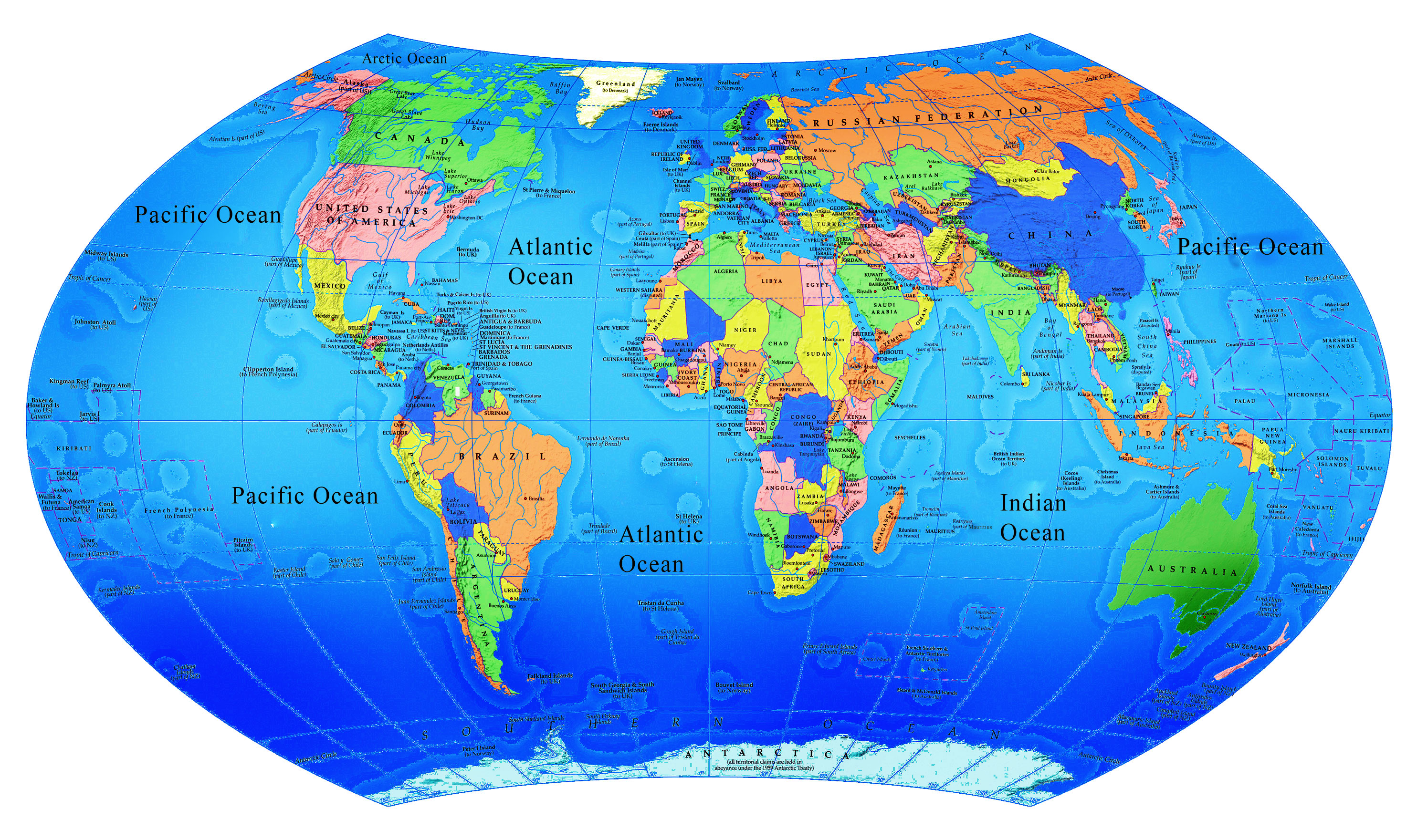 World Map World Map - Map of the globe with countries