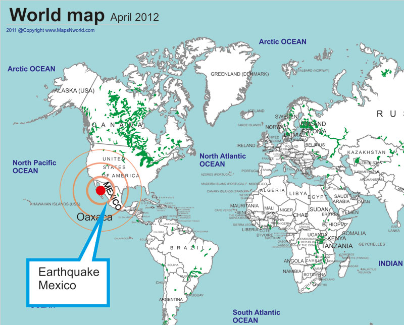 Earthquake Mexico World Map - Where is mexico