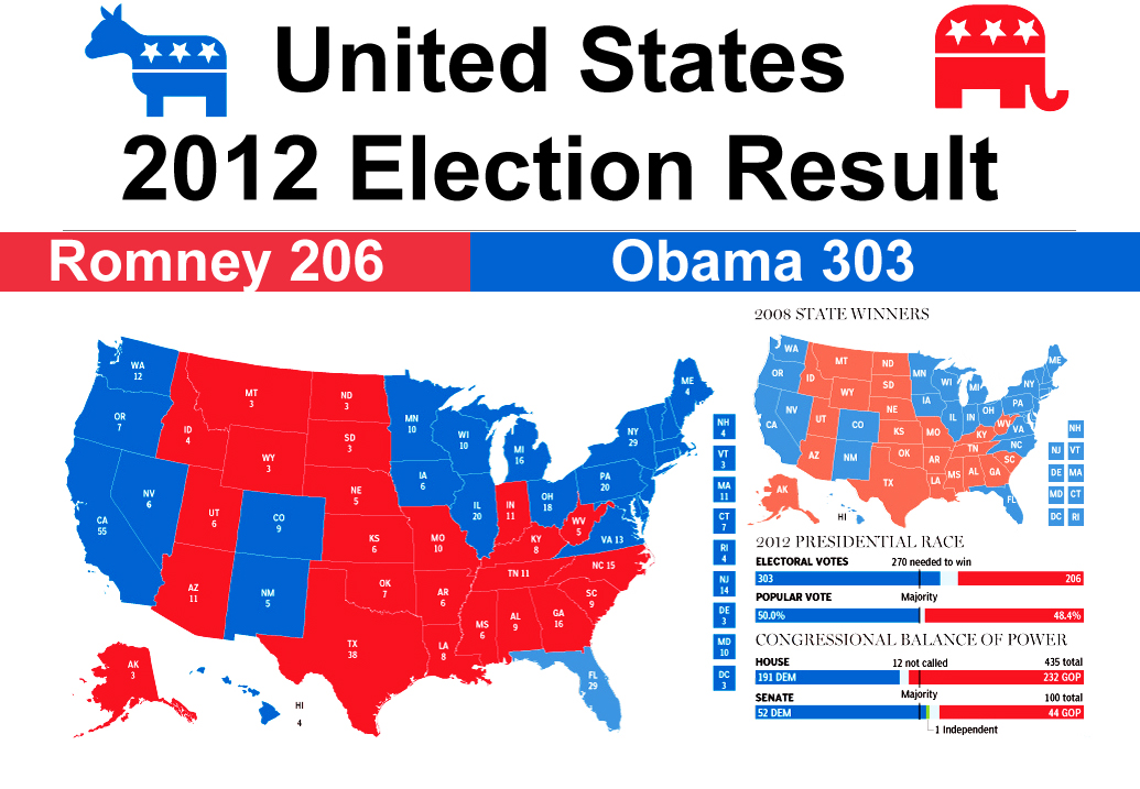 Election results map USA 2012 election World map