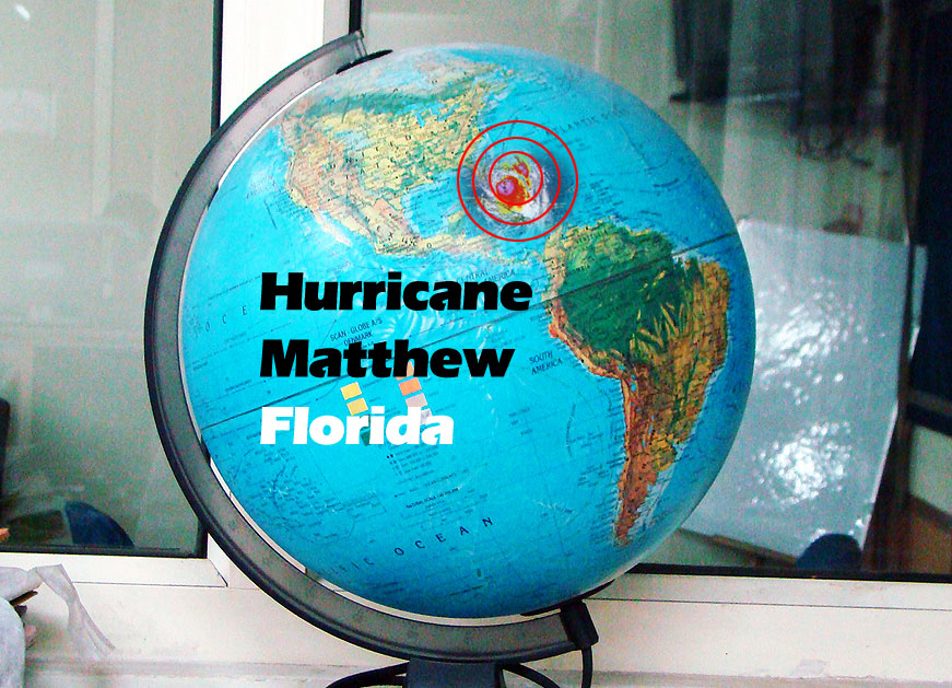 globe showing storm hitting Florida