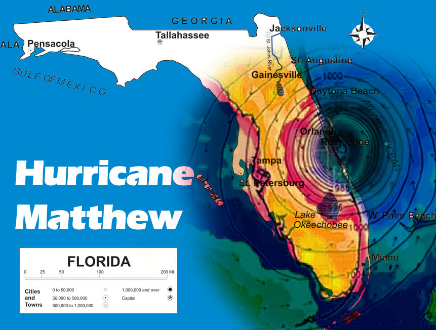Hurricane mathew in Florida map