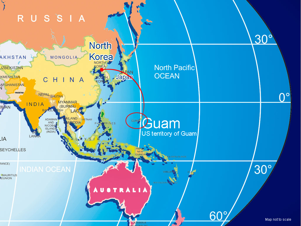 North Korea and Guam location map