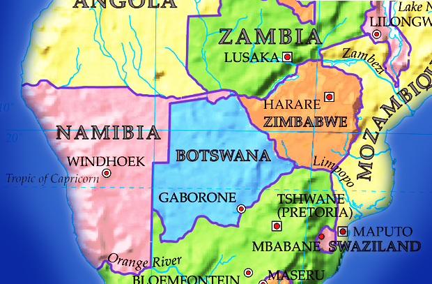 Botswana political map Botswana outline map