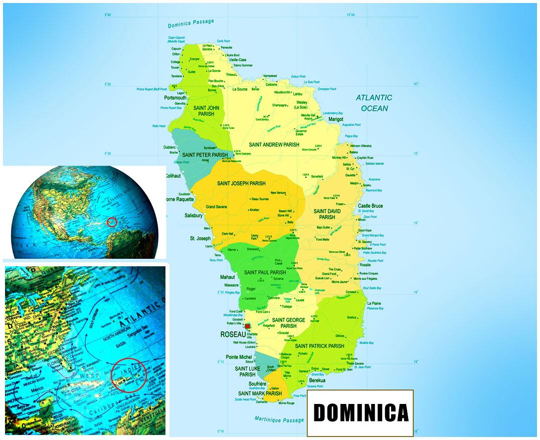Dominica Political Map - Dominica political map