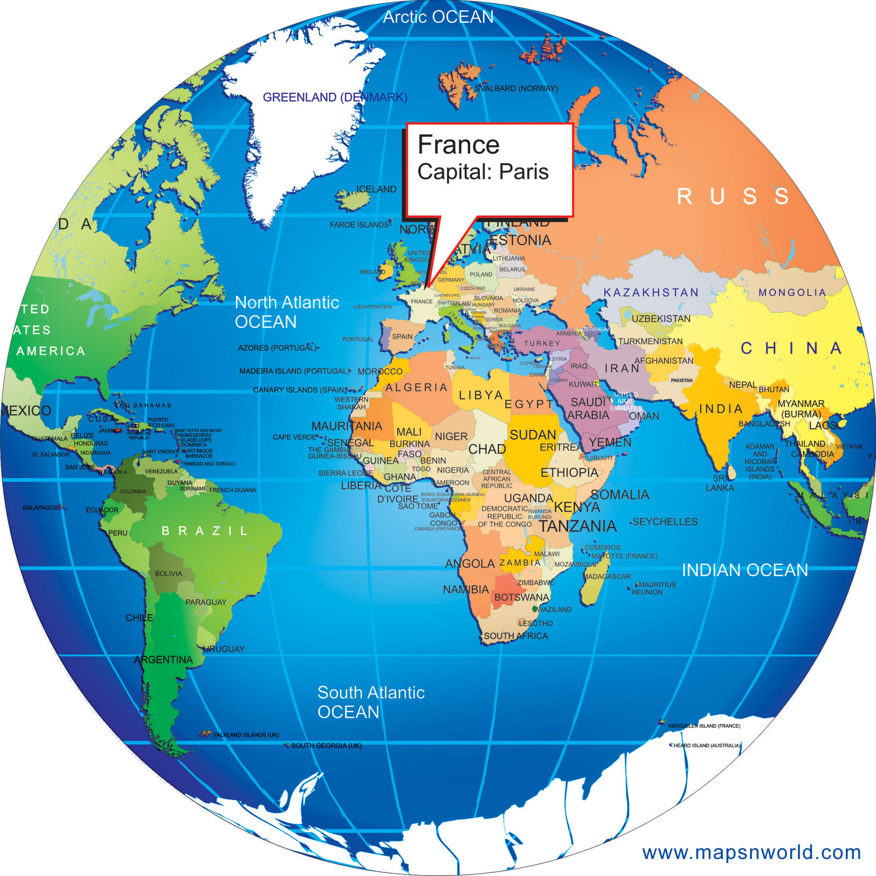 World Map Of France.Where Is France Big Size World Globe