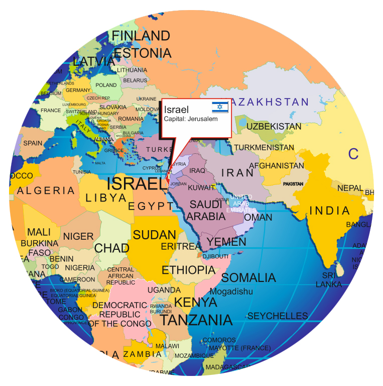 Where is israel location of israel on the world globe and world map where is srael publicscrutiny Images
