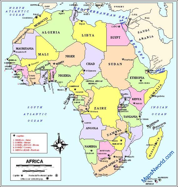 africa map political with capitals