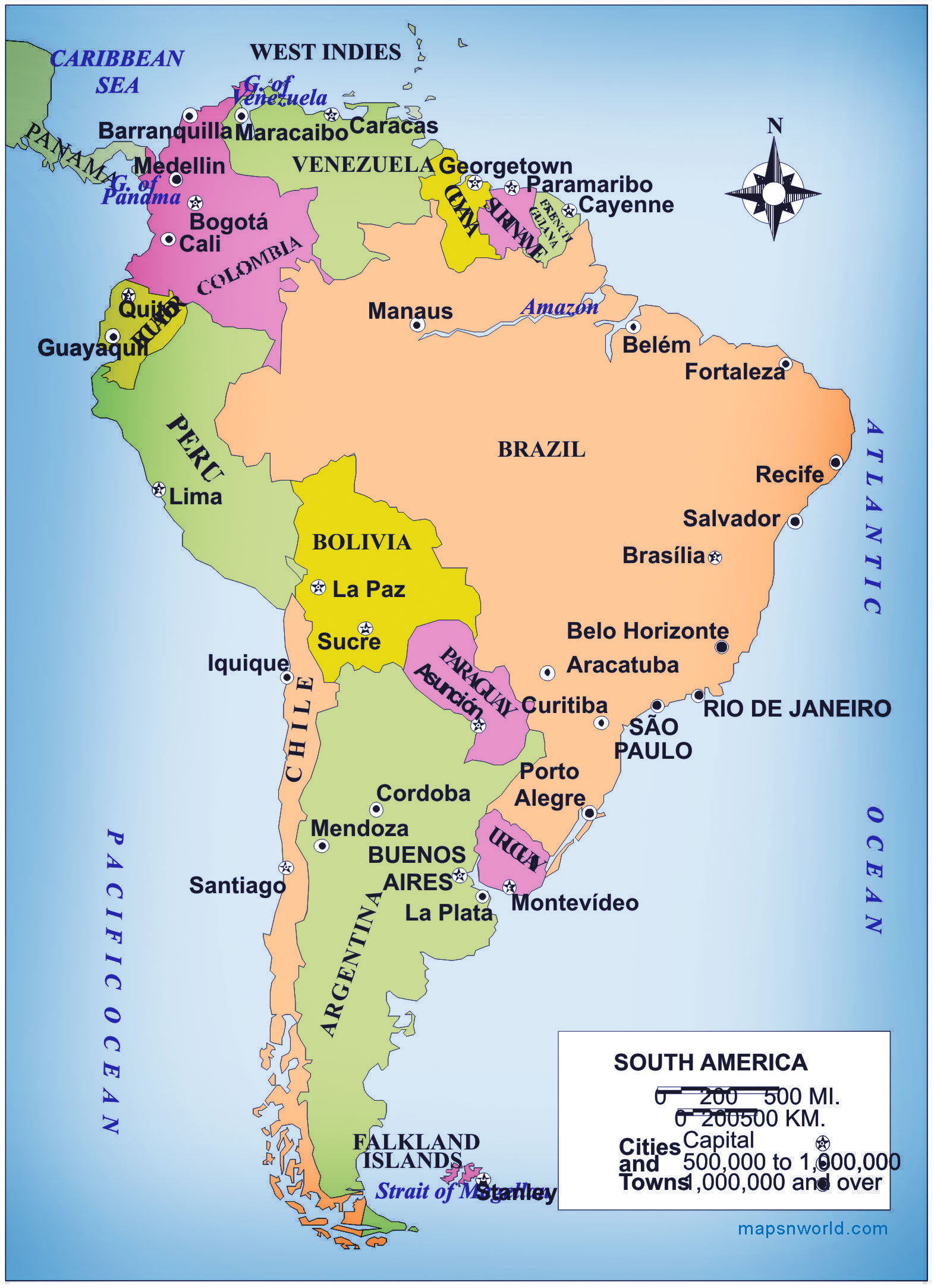 South America map in bigger size