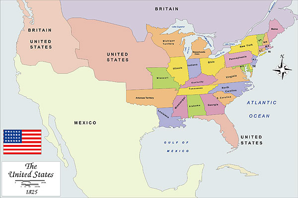 History map of USA 1825