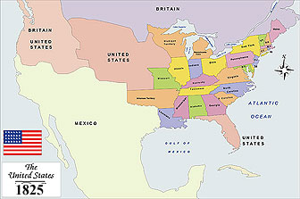 USA History Map from 1825