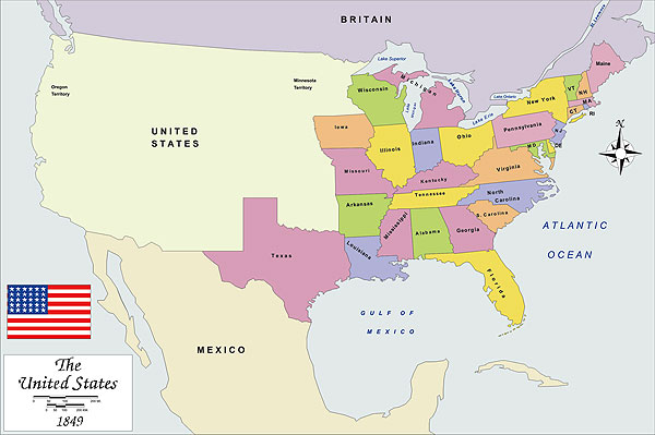 History map of USA 1849