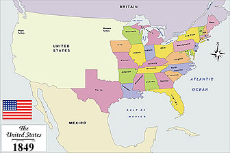 USA History Map from 1849
