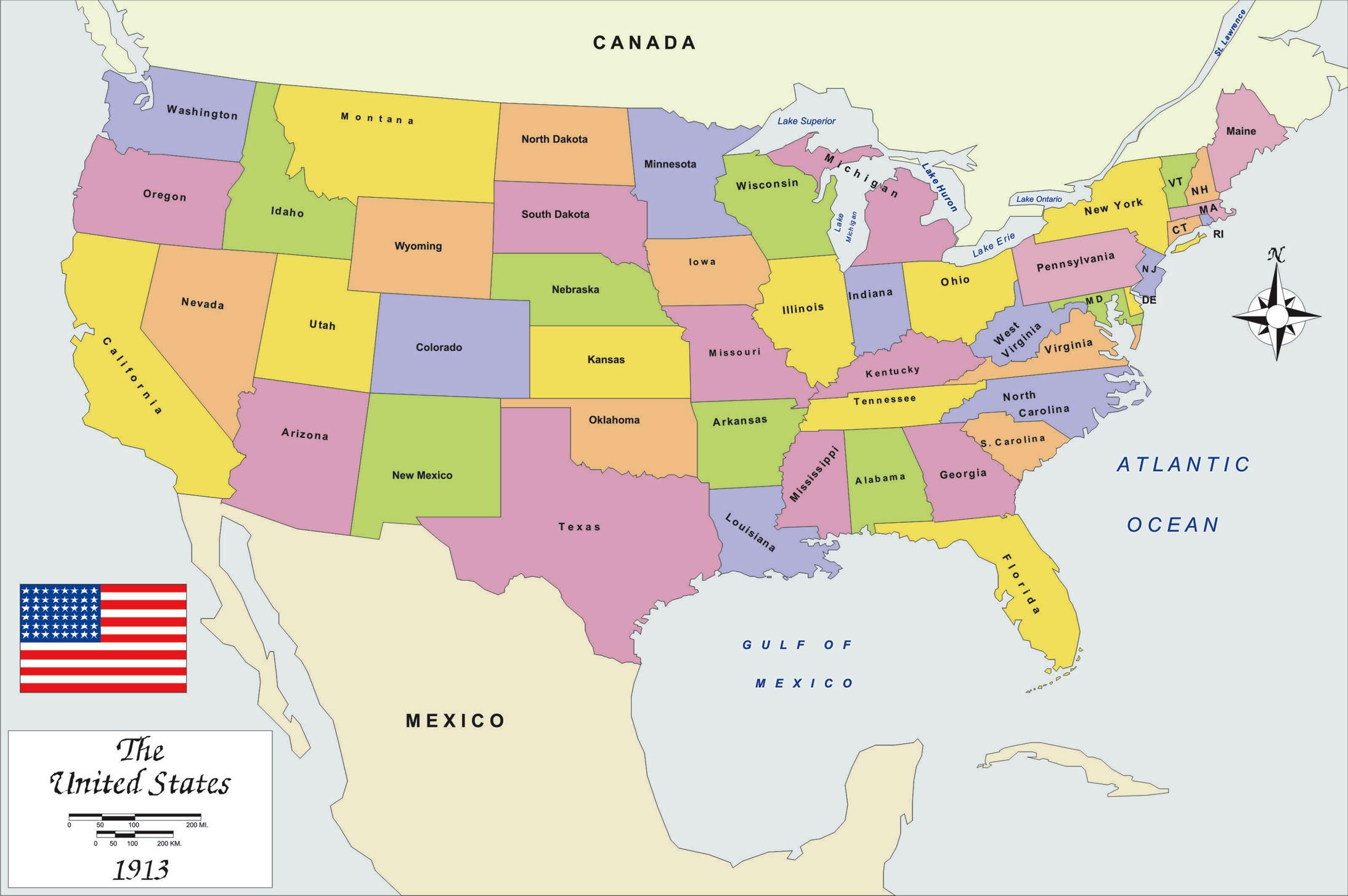 Big Map Of Usa History Map USA 1913 big size