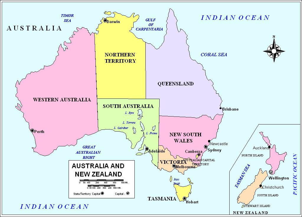 Australia Political Map - Political map of australia