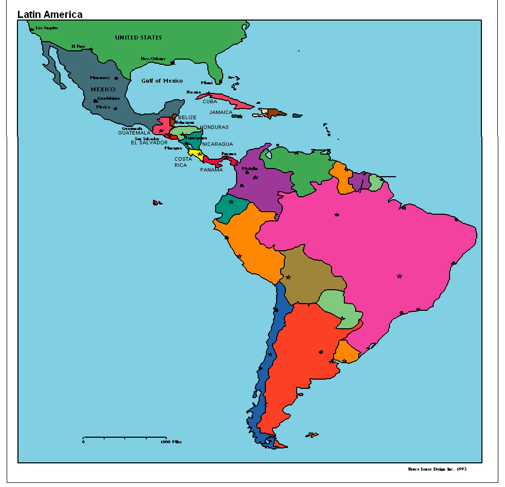 latin america political map