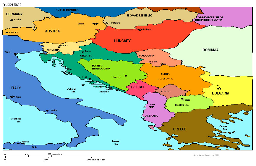 Yugoslavia Political map, Europe Political map, Europe