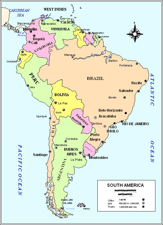 South America Political Map - North and south america map