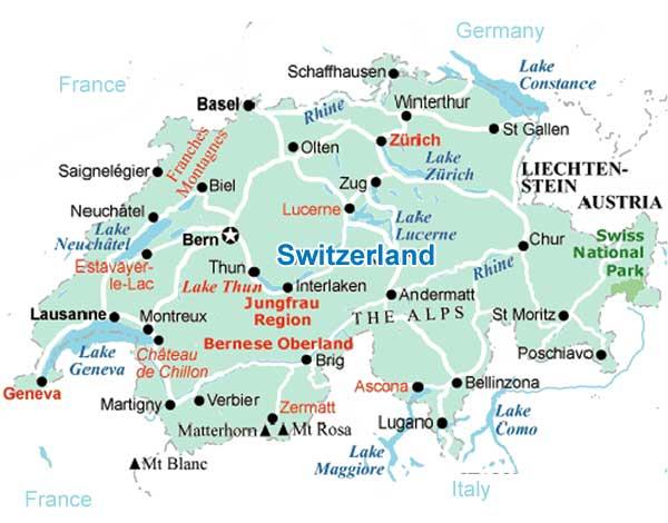Switzerlandmapjpg - Cities map switzerland