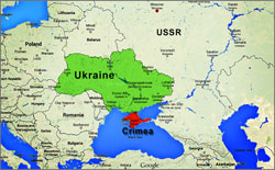 Map of Ukraine and Crimea