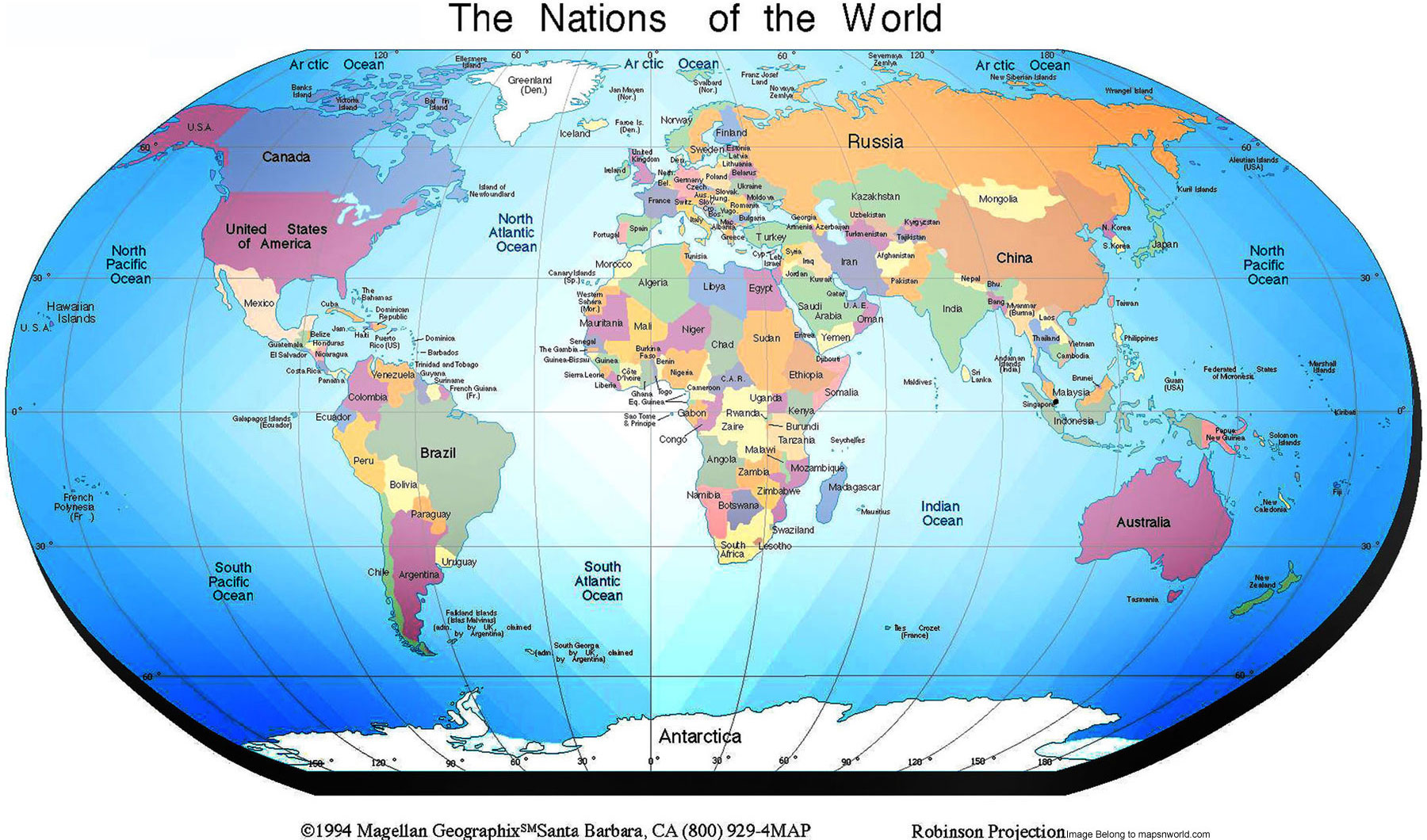 World Map Political Enlarge View - Map of all countries