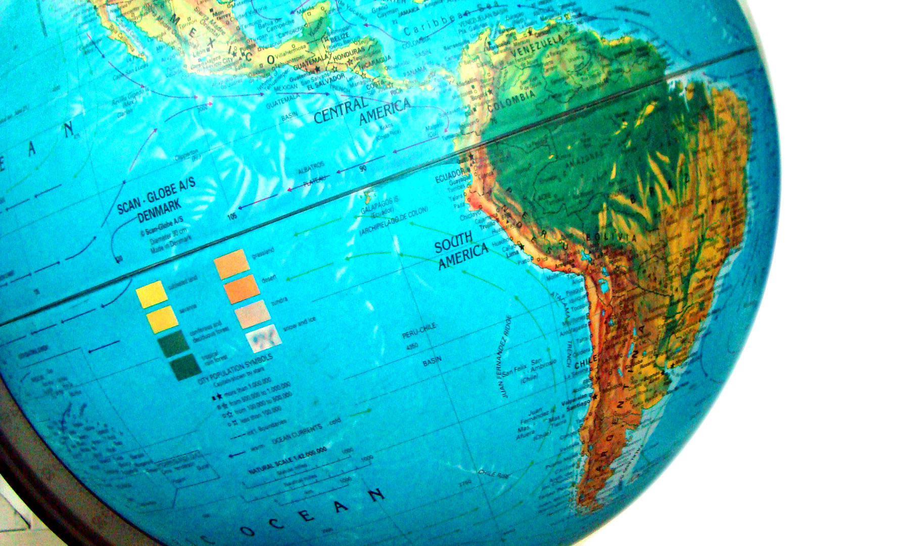 South America on globe South America Map
