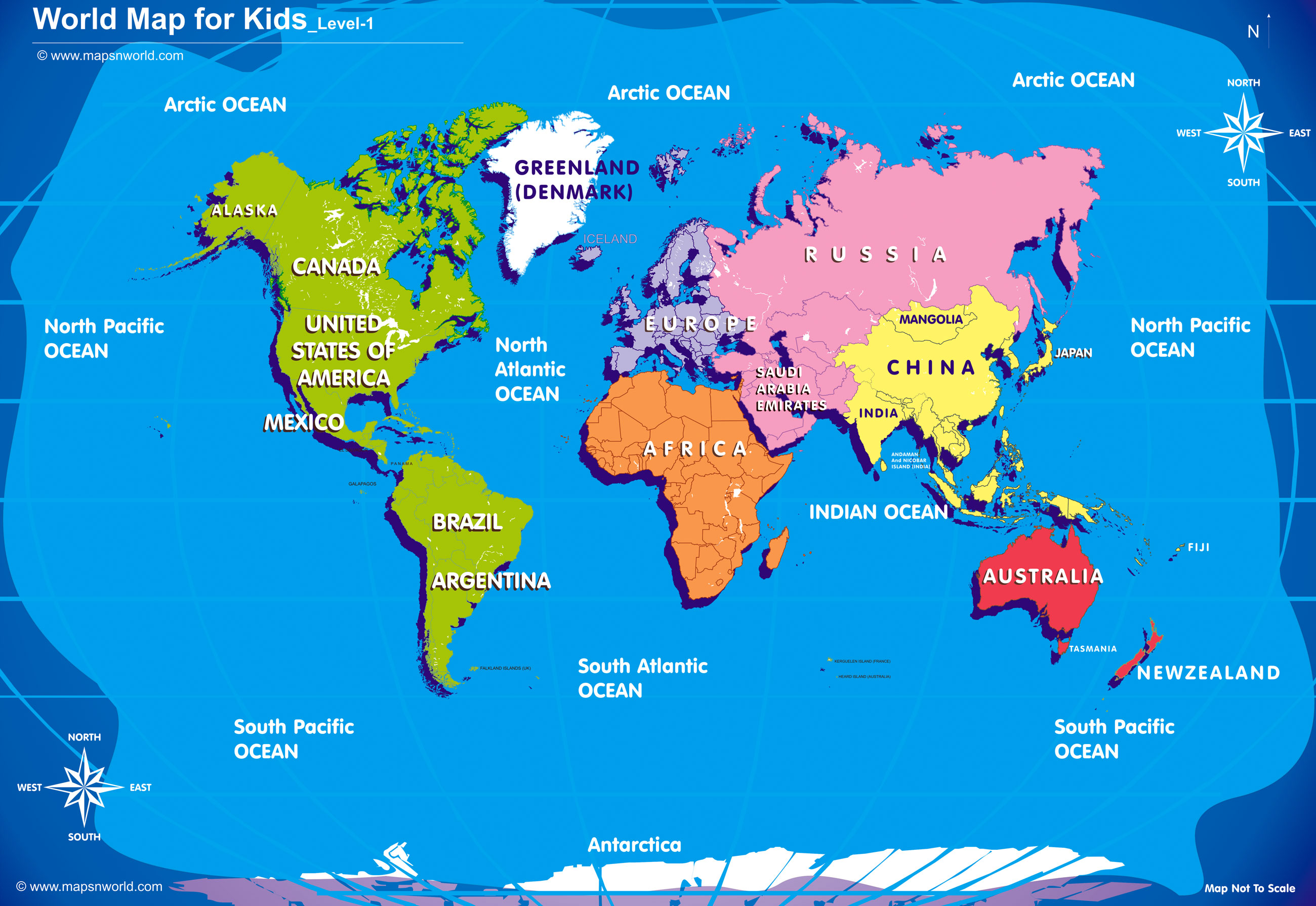 World Map For Kids Big Size - Basic world map