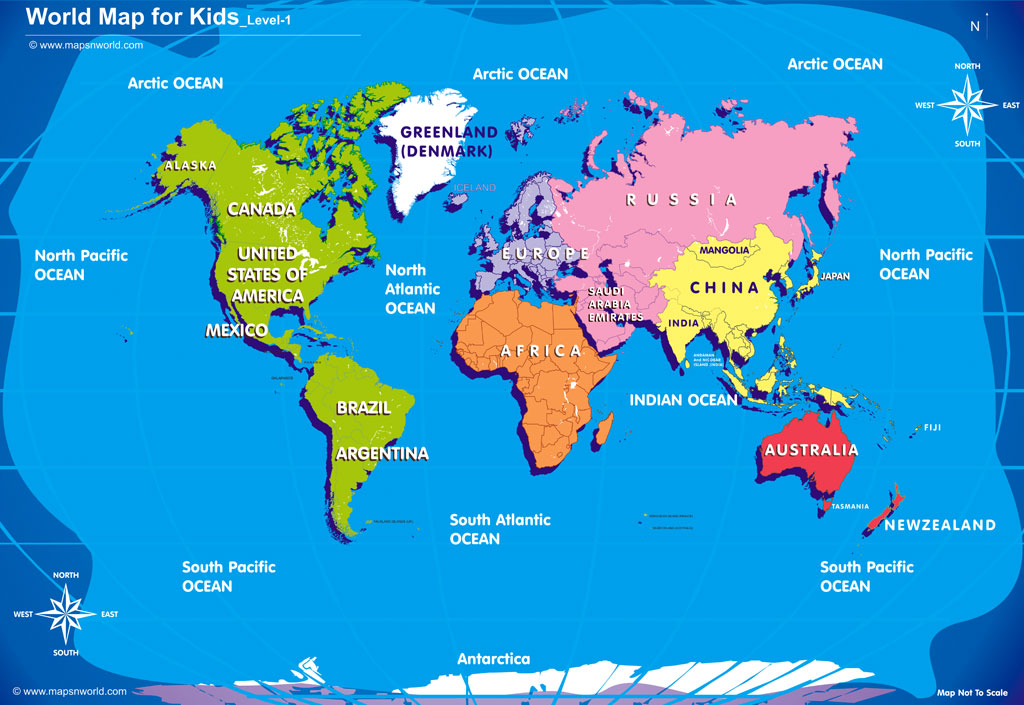 World Map For Kids Royalty Free Images - Printable childrens world map
