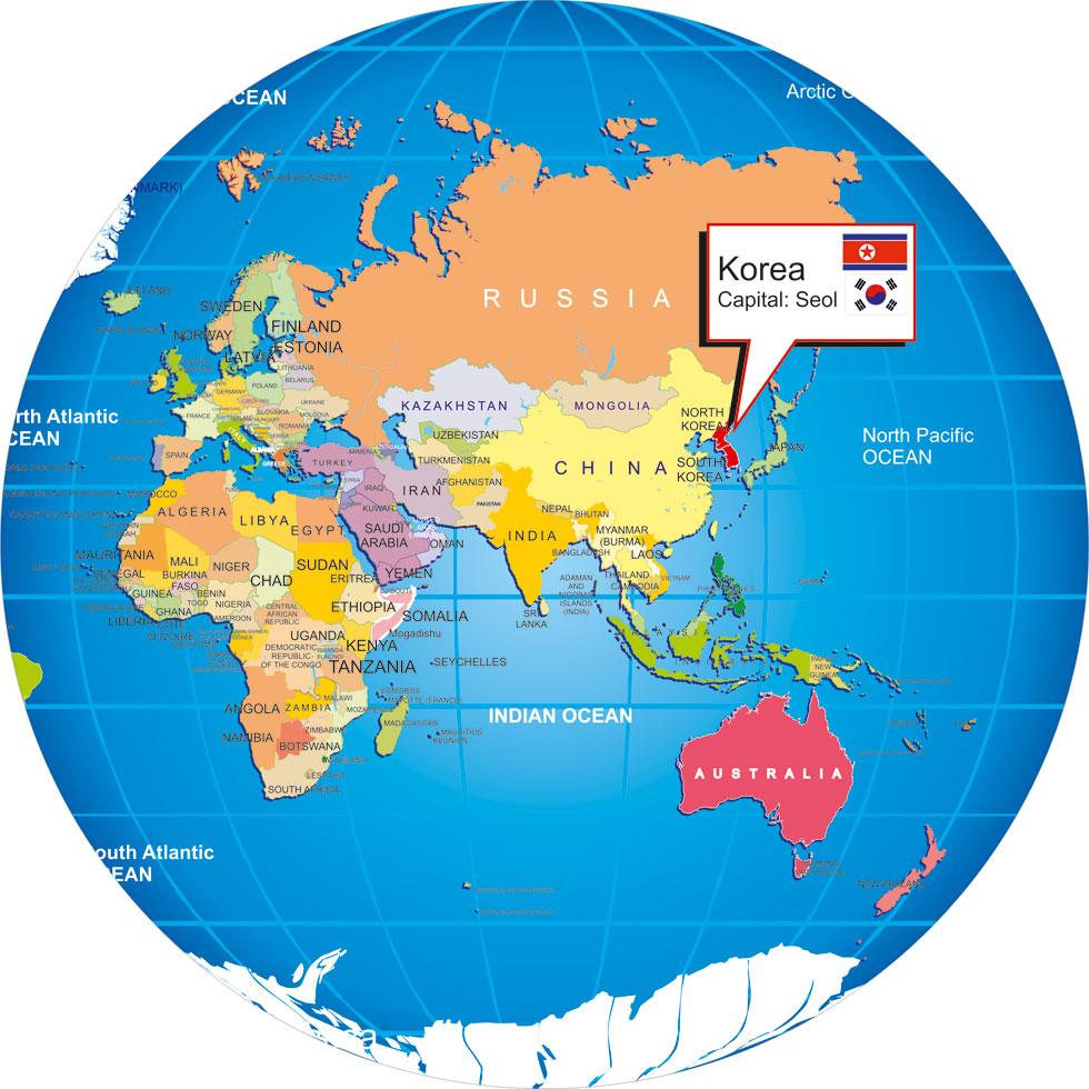 South Korea On World Map Where is Korea? on world globe