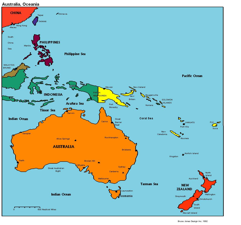 Australia Oceania Map Australia Oceania Map