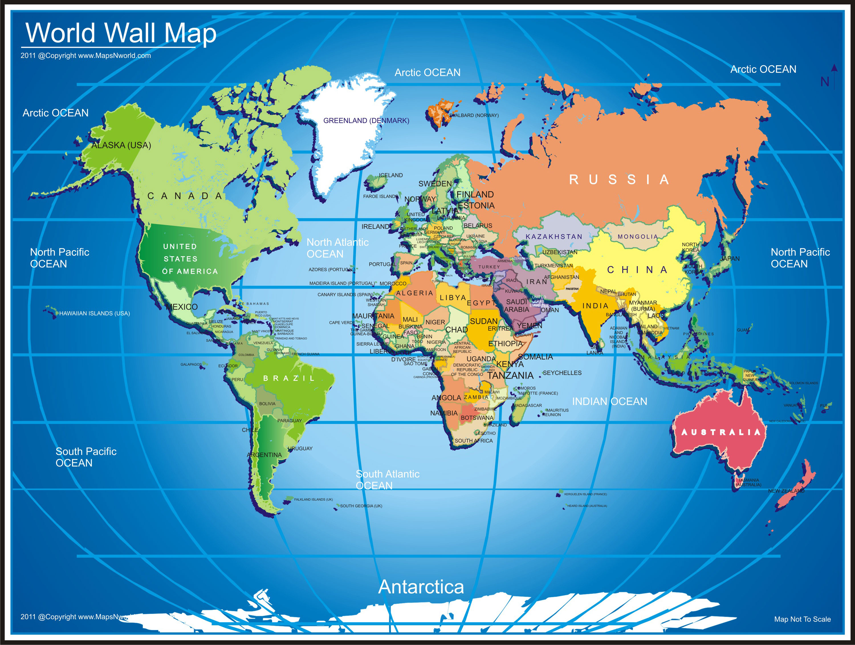 World wall map, wall map on